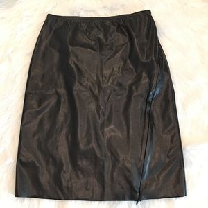 Express Small Black Faux Leather Skirt W/ Side Zip